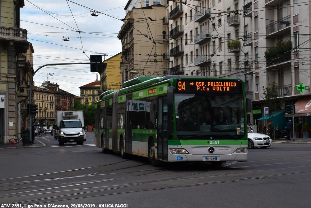 autobus mercedes citaro ibrido atm 2591 milano linea 92