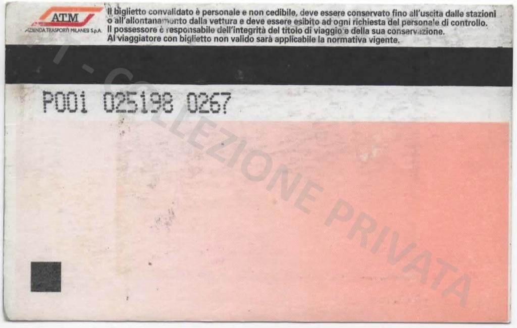 Biglietto ATM rosa - cumulativo U+1-2 zona 1,90€ (retro)