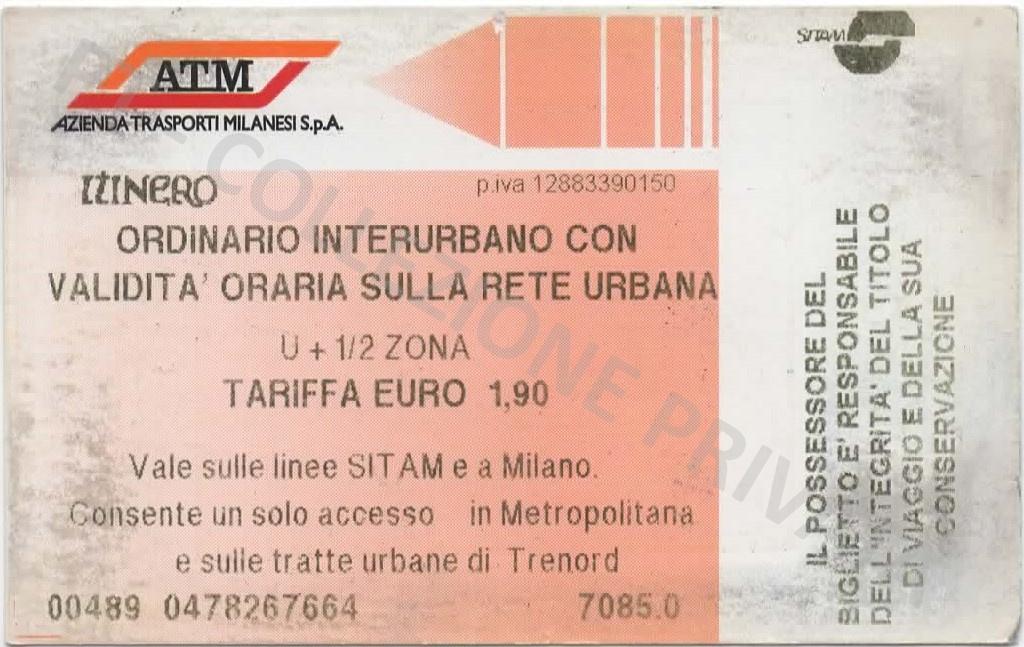 Biglietto ATM rosa - cumulativo U+1-2 zona 1,90€