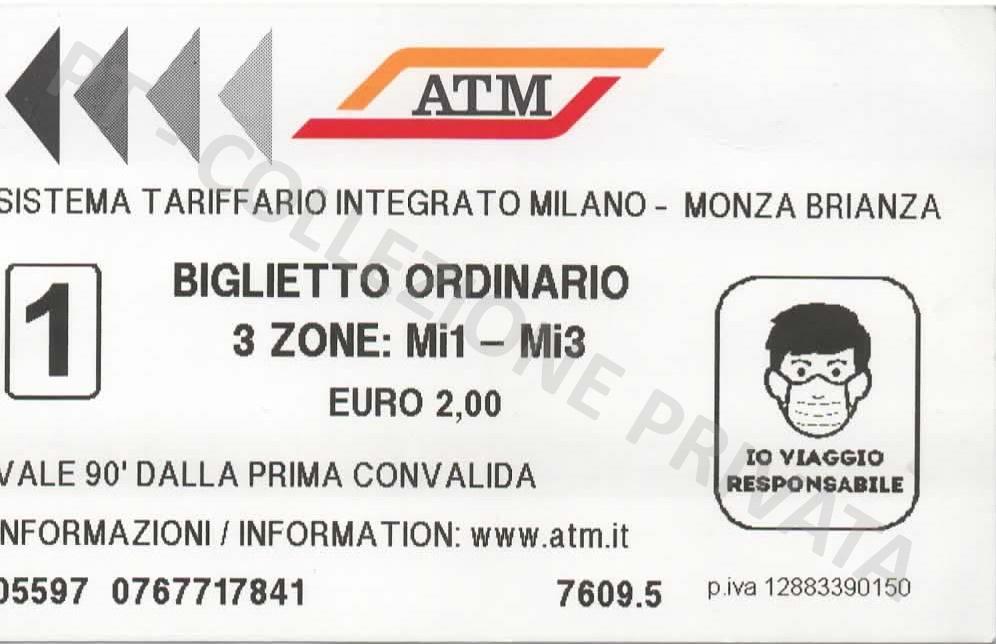 Biglietto ATM covid mascherina - Io viaggio responsabile 1