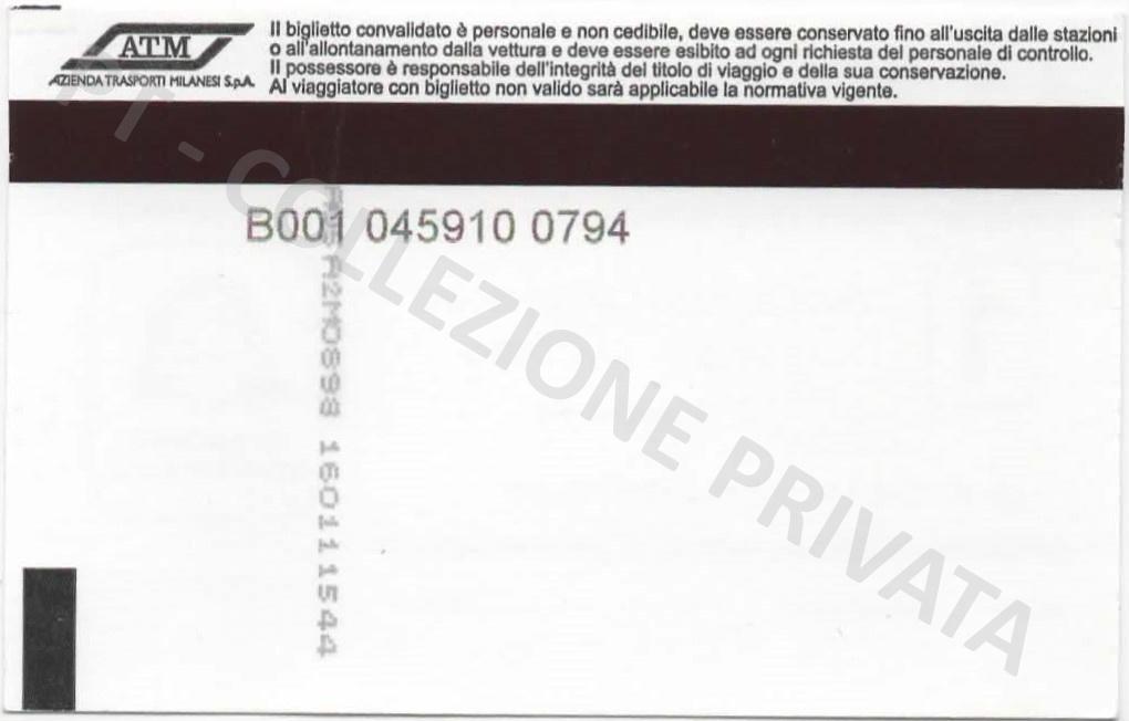 Biglietto ATM - Io viaggio responsabile 2 (retro)