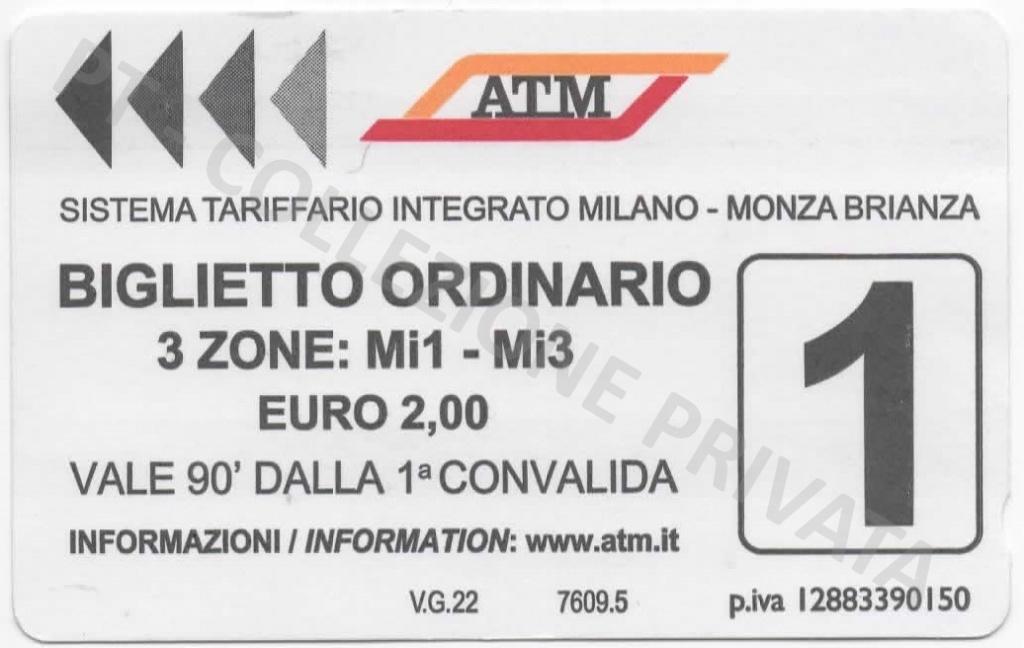 Biglietto ATM - Mi1 Mi3 stampa tipografica